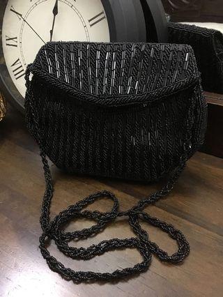 Black Beaded Dinner Bag
