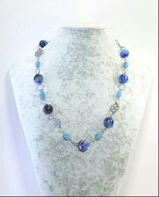 Mira Blue Beaded Necklace