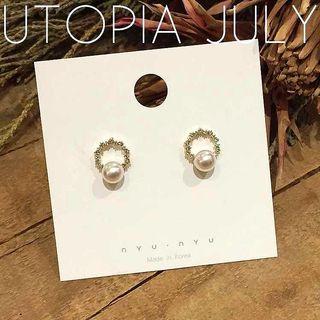 🚚 韓國百搭S925銀針簡約水鑽圓環珍珠耳環/此款可免費改透明u型矽膠耳夾