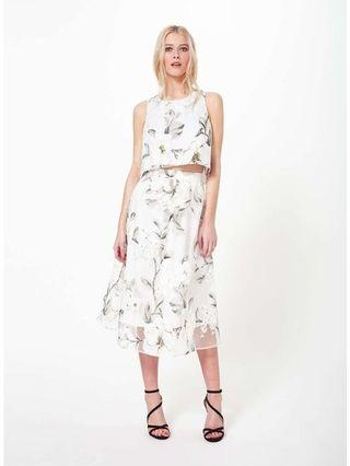 NWOT Miss Selfridge White Floral Double Layer Organza Skirt