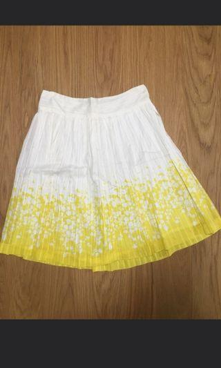 NWOT French Connection FCUK Knee Length White Skirt with Yellow Floral Design