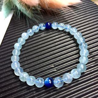 💧天然5A巴西冰種海藍寶藍晶石手珠/高等級冰種海藍寶手鍊約6.2mm/5A藍晶石帶貓眼效應光🔮晶瑩剔透夏天的天藍色海藍寶點綴深色藍晶石,上手超好看❤️