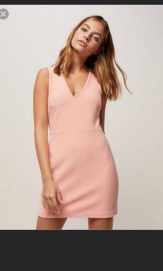 NWT Miss Selfridge Petite Pink Bodycon Lace Up Back Dress