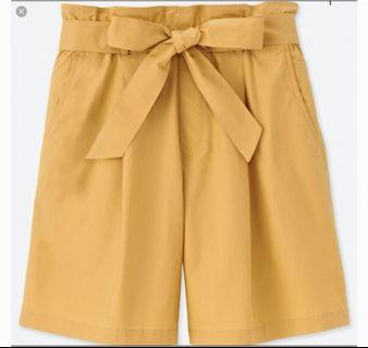 NWOT Uniqlo Mustard Yellow Paper Bag Shorts