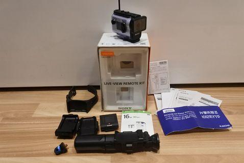 Sony action cam FDR-X3000R + Memory Sony + Grip VCT-SGT1 Lengkap