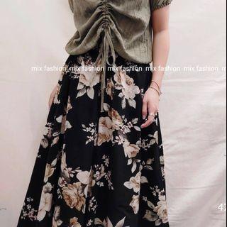 韓國mix fashion玫瑰圖案喇叭腳裙褲