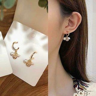 🚚 韓S925銀針C型圓環小巧珍珠鋯石吊墜耳環/此款可免費改透明u型矽膠耳夾
