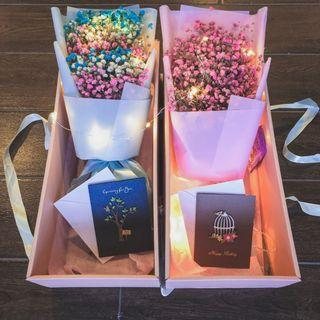 Flower bouquet | Gift set | Birthday gift | Anniversary bouquet | Rainbow baby breath | Preserved flower 干花 永生花 花束 礼物