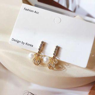 🚚 韓版現貨S925銀針精緻鏤空球珍珠鋯石吊墜耳環/此款可免費改透明u型矽膠耳夾