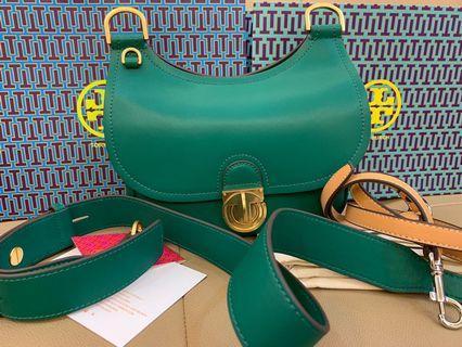 Authentic Tory Burch James saddle handbag crossbody bag sling bag