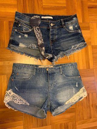 Zara Denim Shorts Size 2