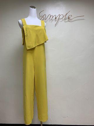 好評推薦全新現貨黃色顯瘦腰帶吊帶連身褲可拆式