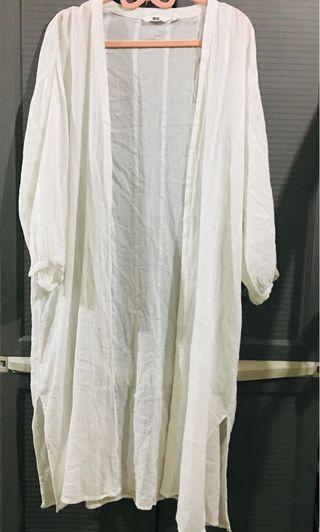 Uniqlo Long White Cover up w/ Slits