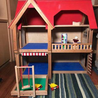 Large Doll House and PlanToys Furniture and a PlanToys Family