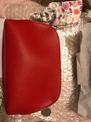 全新 estee lauder 化妝袋 化妝包 cosmetic bag 紅色 red