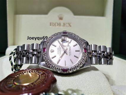 Full diamonds/Ruby bezel! ROLEX DATEJUST Ladies Silver