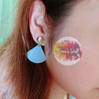 藍色扇形耳環