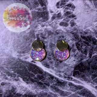 彩色鑲鑽耳環