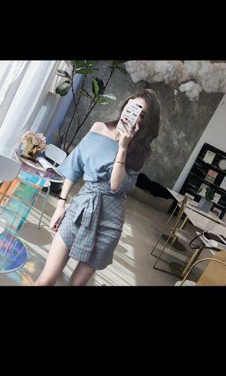 Set of blue off shoulder top & checkered skirt