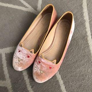 Authentic Charlotte Olympia cats kitten flats in pink velvet
