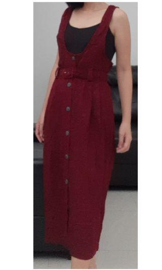 tartan red overalls