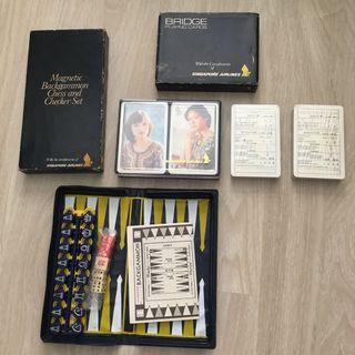 Vintage SIA bridge / backgammon card and board