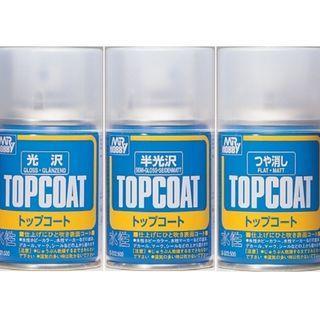 Mr Hobby Topcoat Spray Can Gloss, Semi-gloss and Flat 88ml