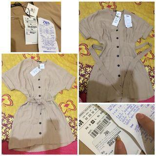 Zara cream button dress