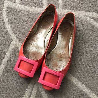 Authentic Roger Vivier buckle flats in dark pink patent