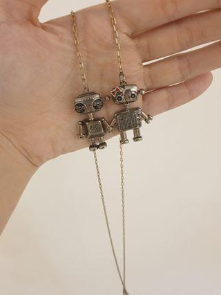 Bronze robot necklace