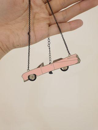 Pink car necklace