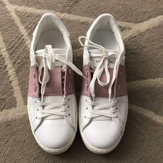 Authentic Valentino rockstud sneakers in white leather with pink stripe