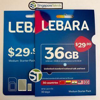 Australia 36GB Prepaid SIM CARD 30Days Vodafone Lebara Mobile Call Data 4G