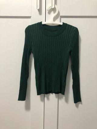 🚚 深綠色羅紋編織彈性合身上衣