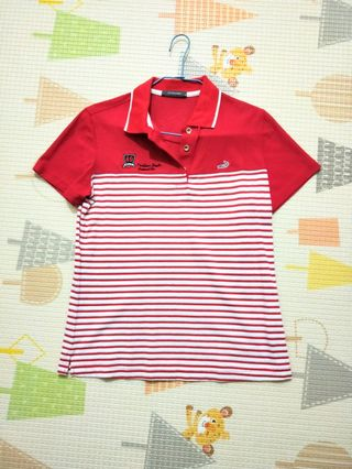 Crocodile 紅色線條polo 衫