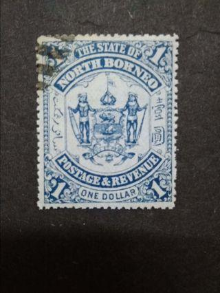 North Borneo 1895 $1(Blue) Omitted Overprint Labuan - 1v Used Malaya Stamps #1