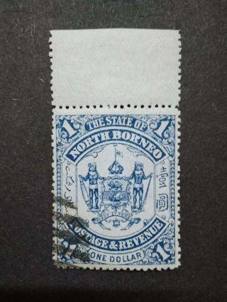 North Borneo 1895 $1(Blue) Omitted Overprint Labuan With Top Margin - 1v Used Malaya Stamps