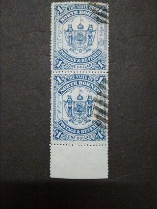 North Borneo 1895 $1(Blue) Omitted Overprint Labuan Vertical Pair With Bottom Margin - 2v Used Malaya Stamps