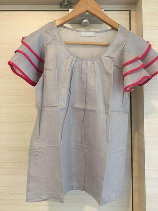 Ruffles Sleeves Pastel Grey Blouse with Pink Trimmings