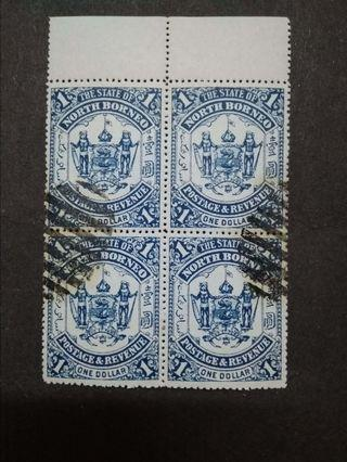 North Borneo 1895 $1(Blue) Omitted Overprint Labuan Block Of 4 - 4v Used Malaya Stamps
