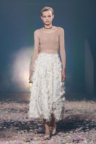 🚚 Dior設計款 米色麻紗長裙