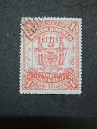 1901-05 North Borneo Overprint British Protectorate On $1(Red Ink) - 1v Used Malaya Stamps