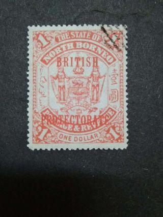 1901-05 North Borneo Overprint British Protectorate On $1(Red Ink) - 1v Used Malaya Stamps #1
