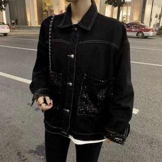 Black Denim Jacket with pearl buttons and sequin