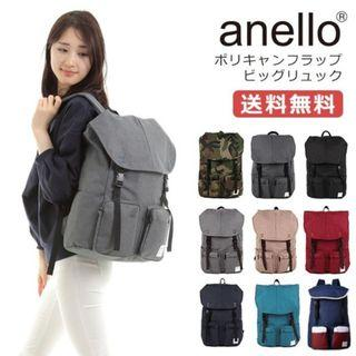 🇯🇵日本品牌アネロ(anello)雙肩文青休閒聚帆布大背包 實用 多袋 時尚💯100%正品日本直送✈️