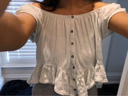 Adorable free people boho ruffle over the shoulder white top xs