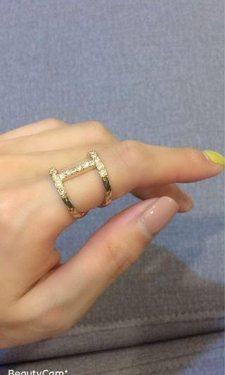 🚚 金色帶鑽食指戒(活動戒)