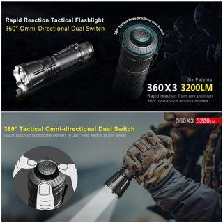 (FREE Delivery) Klarus 360X3 Tactical Flashlight_3,200 Lumens_USB Rechargeable_360 Degree Tactical Tail Cap