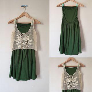 Dress dark green with crochet