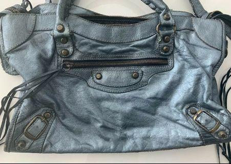 Blue Metallic Soft Leather Sling Bag